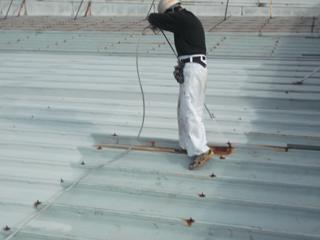 倉庫 屋根塗装工事の施工前